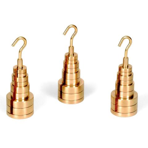 切り込み(スリット)入り分銅及び分銅ホルダ・3組