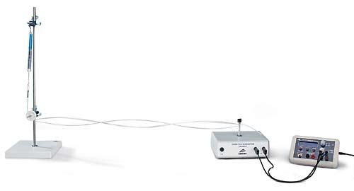 バネばかり,振動発生器を使った横波の実験