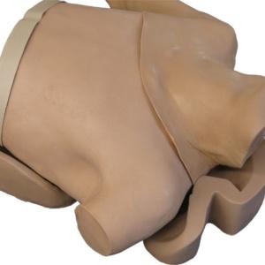 仰臥位で練習する場合,付属パーツで本体を固定できます。